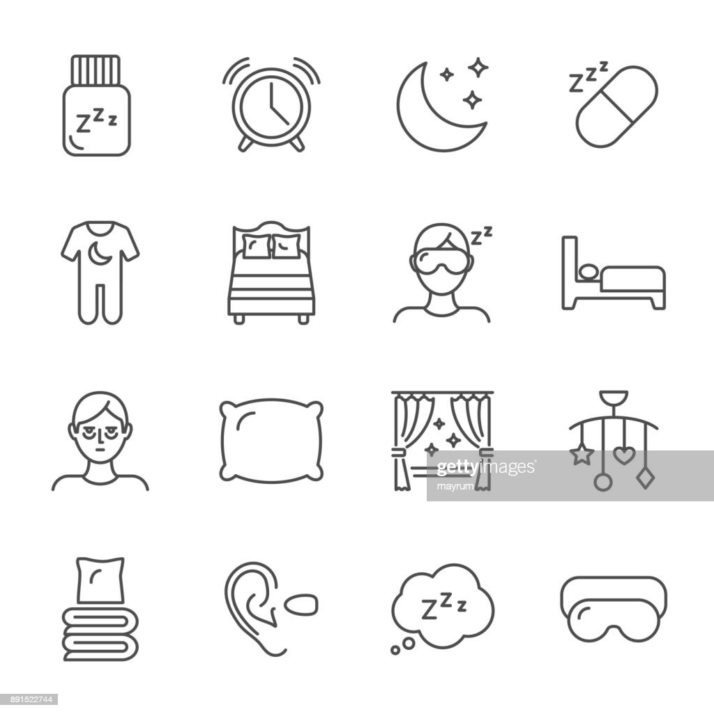 Sleep set of vector icons line style