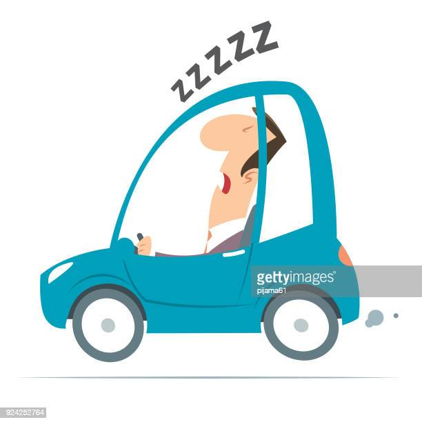 sleeper driver - tired stock illustrations
