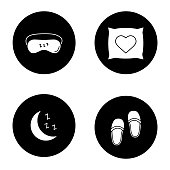 Sleeping accessories icons