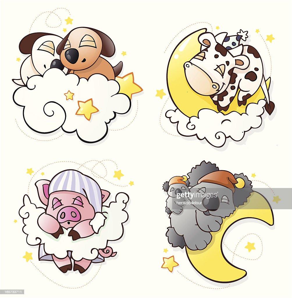 sleeping animals set