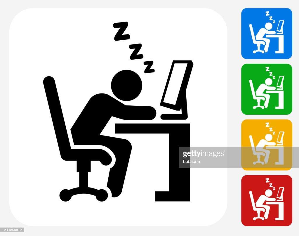Sleeping at Work Icon Flat Graphic Design