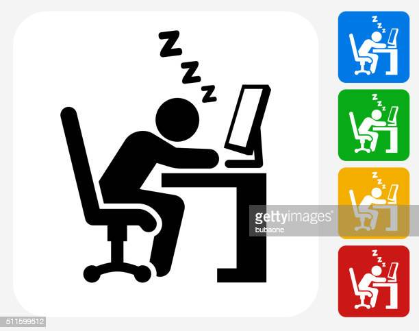 Sleeping at Work Icon Flat Graphic Design