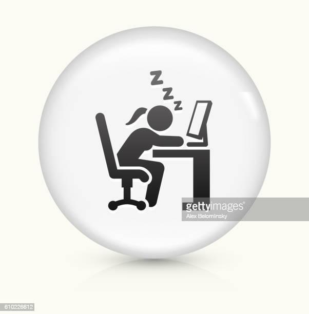 Sleeping at Work icon on white round vector button