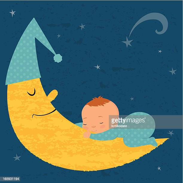 Sleeping baby boy with moon