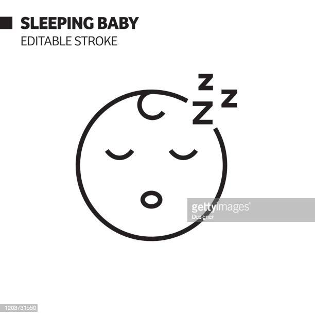 sleeping baby line icon, outline vector symbol illustration. pixel perfect, editable stroke. - purity stock illustrations