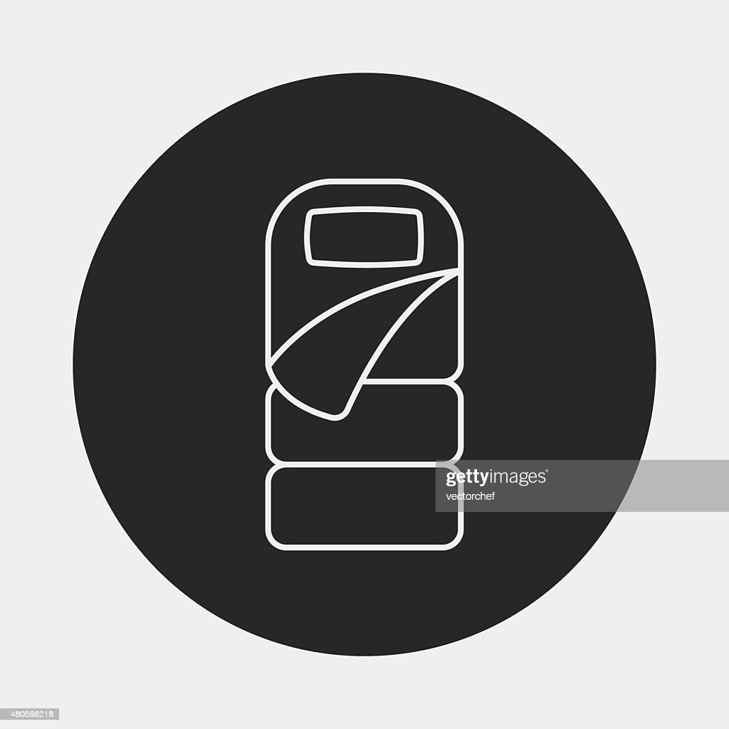 Sleeping bag line icon : Vector Art