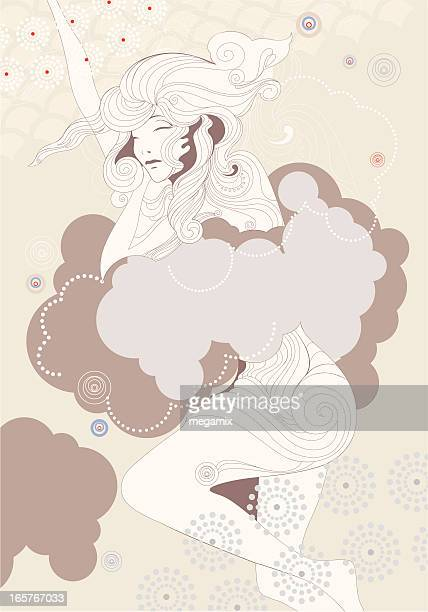 sleeping beauty. - ethereal stock illustrations, clip art, cartoons, & icons