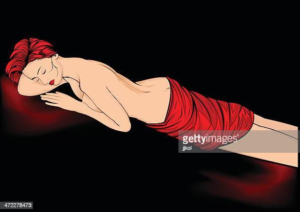 ilustraciones, imágenes clip art, dibujos animados e iconos de stock de bella durmiente - mujer desnuda