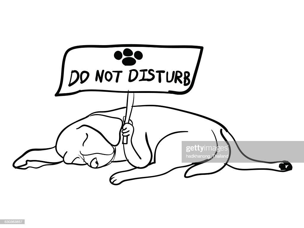 Sleeping dog holding do not disturb board