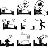 Sleeping Dreaming Nightmare Snoring Insomnia Waking Up Pictogram
