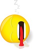 Sleeping emoji. Emotion of tiredness. Cartoon style.