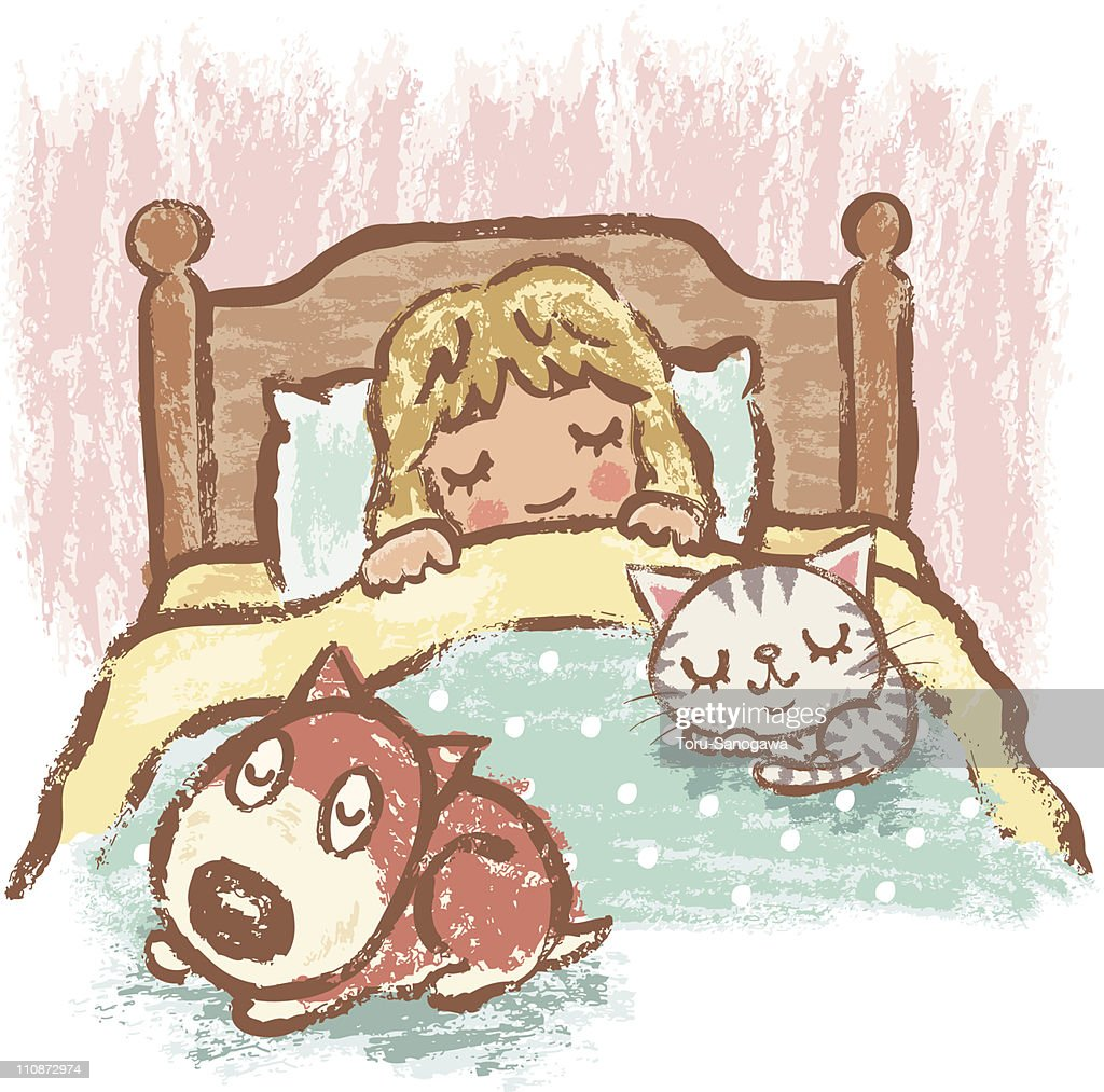 Sleeping girl with dog and cat : stock illustration
