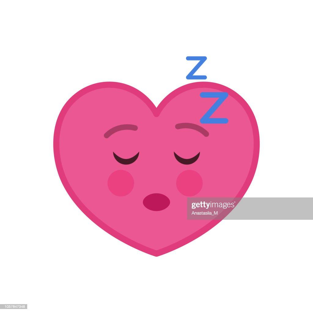 Sleeping heart shaped funny emoticon icon