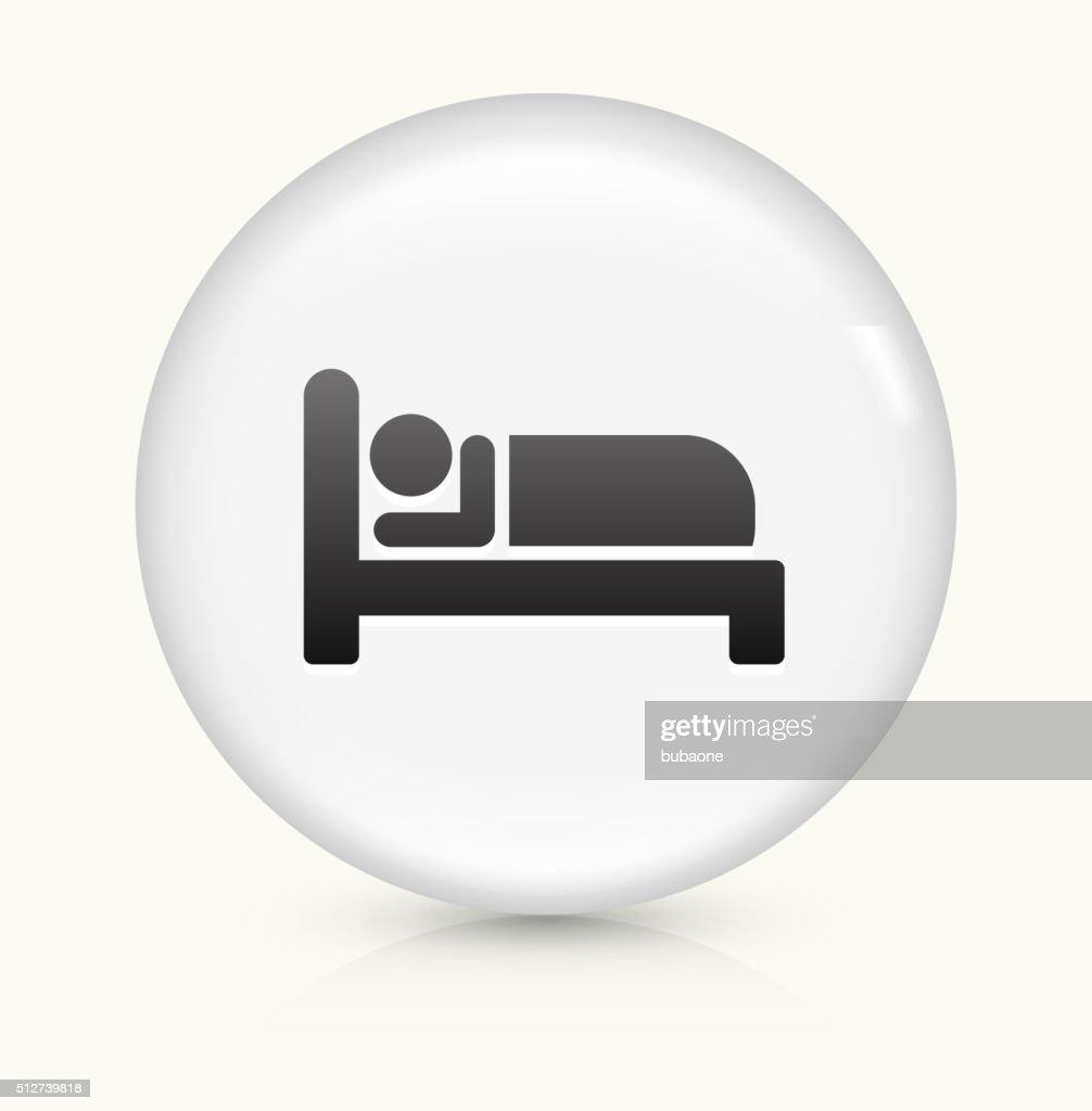 Sleeping icon on white round vector button