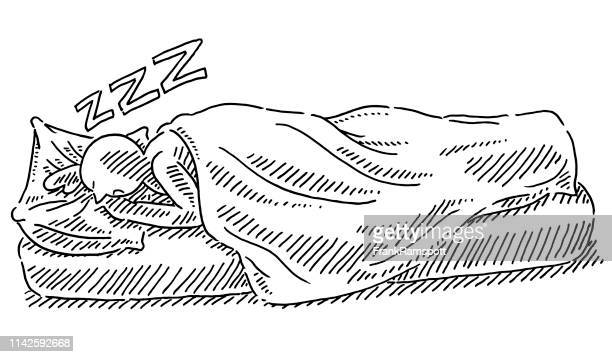 sleeping in bed human figure drawing - blanket stock illustrations, clip art, cartoons, & icons