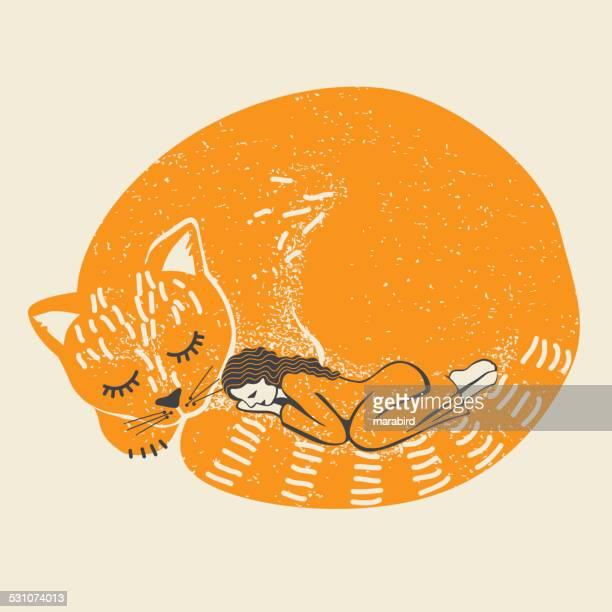 illustrations, cliparts, dessins animés et icônes de couchage chaton et femme - chat humour