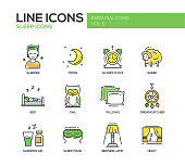 Sleeping - line design icons set