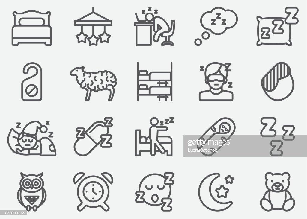 Sleeping Line Icons : stock illustration