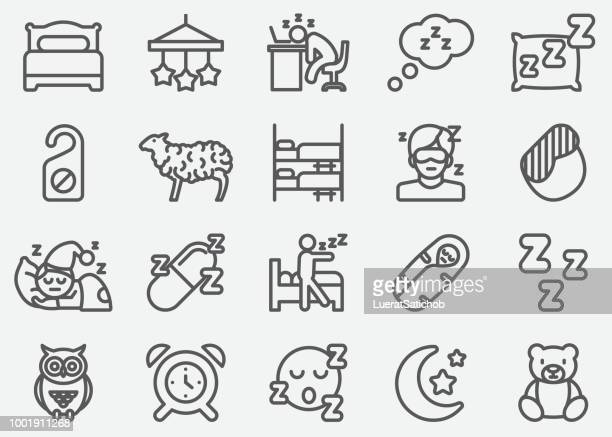 stockillustraties, clipart, cartoons en iconen met slapende lijn pictogrammen - eén persoon
