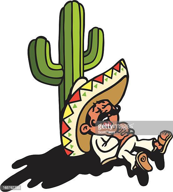 sleeping mexican - sombrero stock illustrations