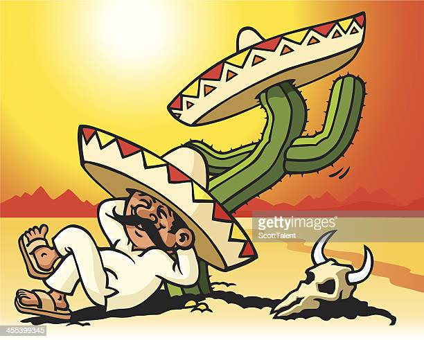 ilustrações, clipart, desenhos animados e ícones de dormir mexicana - sombreiro