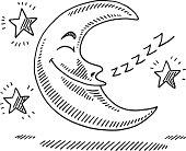 Sleeping Moon Stars Night Drawing