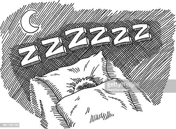 ilustrações de stock, clip art, desenhos animados e ícones de dormir de noite cama zzzzzz texto - descansar