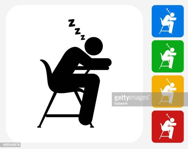 Sleeping on School Desk Icon Flat Graphic Design