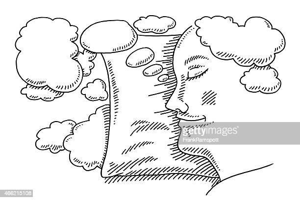sleeping person dreams thought bubbles drawing - eyes closed stock illustrations, clip art, cartoons, & icons