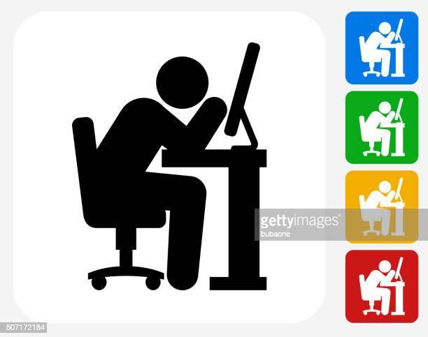 Sleepless Worker Icon Flat Graphic Design