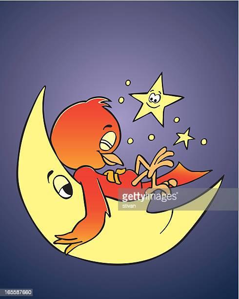 sleepy bird - mockingbird stock illustrations, clip art, cartoons, & icons