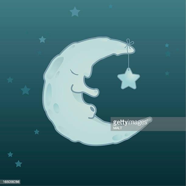 sleepy moon - man in the moon stock illustrations, clip art, cartoons, & icons