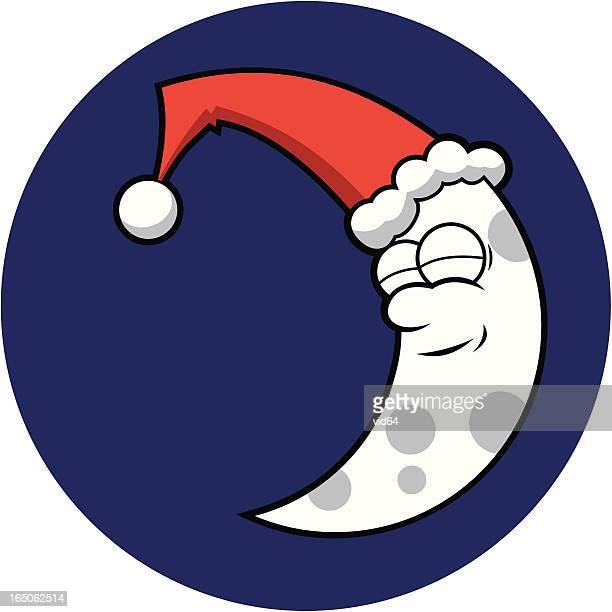sleepy santa moon - man in the moon stock illustrations, clip art, cartoons, & icons