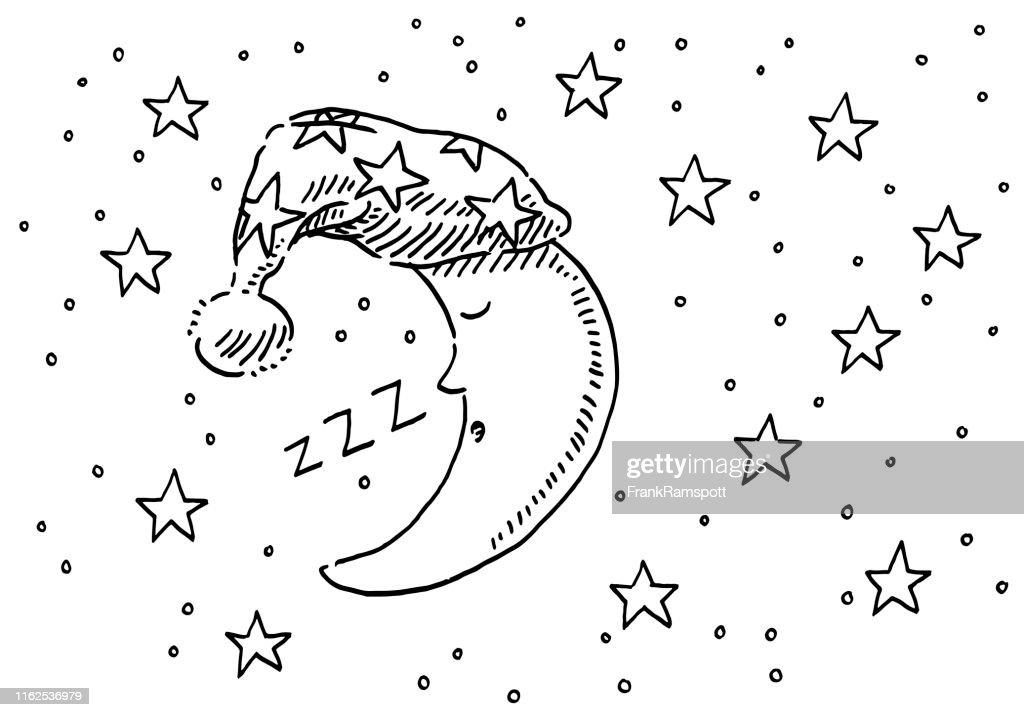 Sleepyhead Moon Night Sky Drawing : Stock Illustration