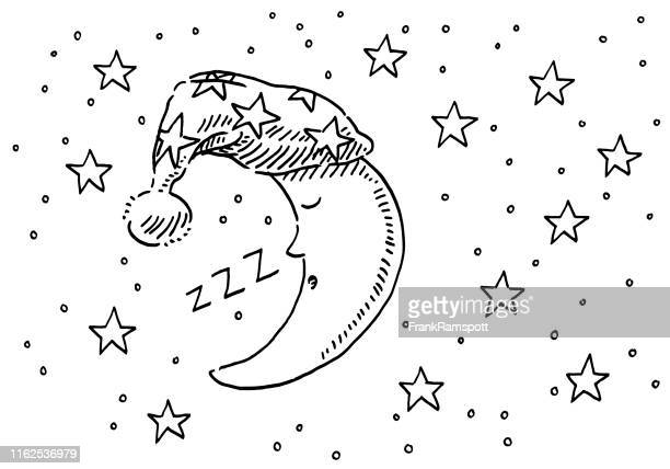 sleepyhead moon night sky drawing - sleeping stock illustrations