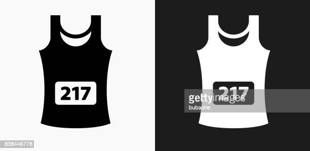 sleeveless jersey icon on black and white vector backgrounds - sleeveless stock illustrations, clip art, cartoons, & icons
