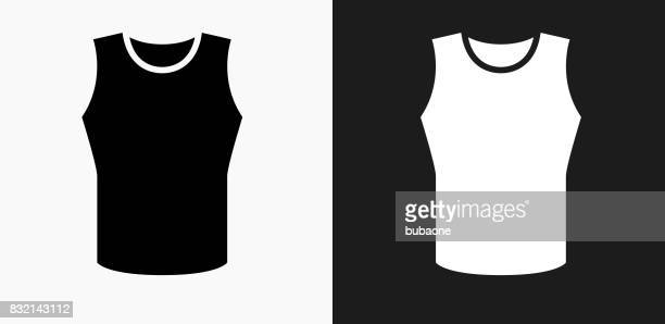 sleeveless shirt icon on black and white vector backgrounds - sleeveless stock illustrations, clip art, cartoons, & icons
