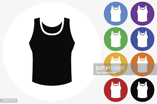 sleeveless shirt icon on flat color circle buttons - sleeveless stock illustrations, clip art, cartoons, & icons