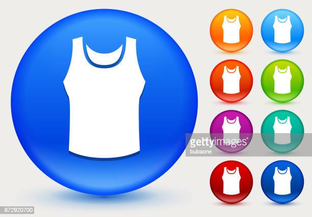 Sleeveless Shirt Icon on Shiny Color Circle Buttons