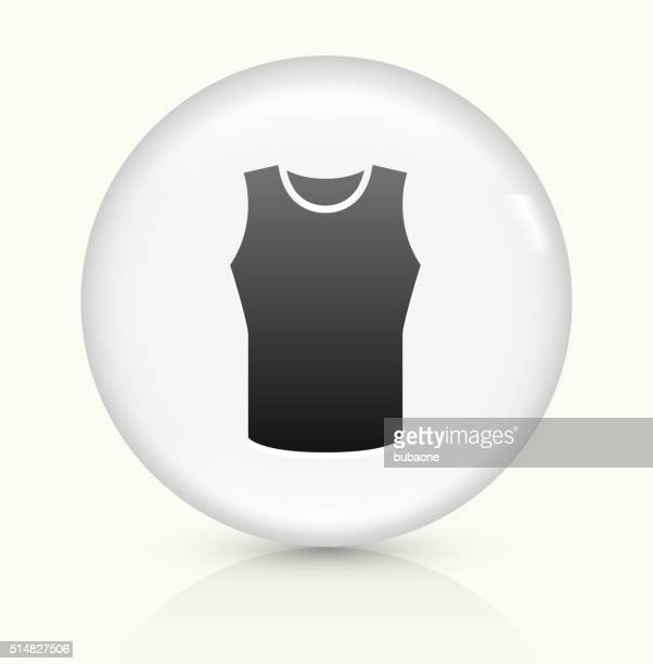 sleeveless shirt icon on white round vector button - sleeveless stock illustrations, clip art, cartoons, & icons