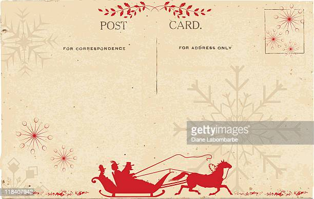 sleigh ride on a vintage postcard with beige background - postcard stock illustrations, clip art, cartoons, & icons