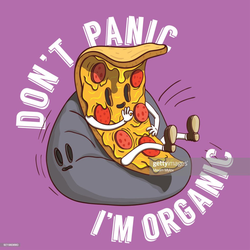 Slice of Pizza Illustration. Piece of Italian Food With Don't Panic I'm Organic Slogan on Purple Background