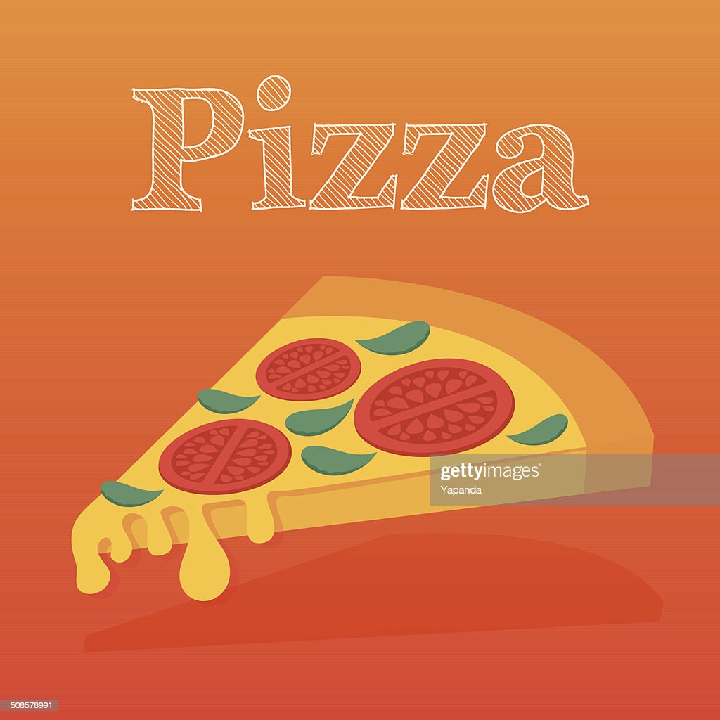 Slice of pizza margarita. Flat vector illustration. : Vector Art