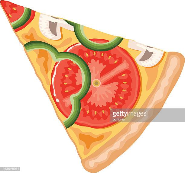 slice of vegetarian pizza - serving size stock illustrations, clip art, cartoons, & icons