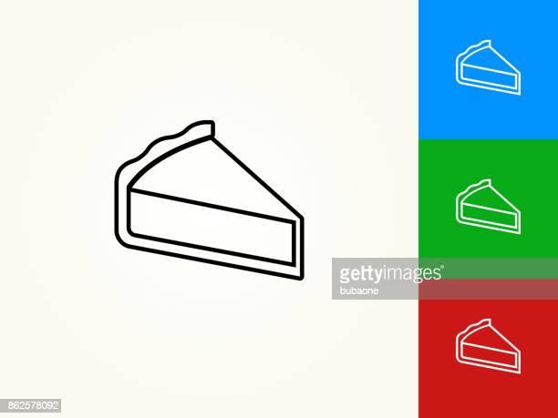 ilustrações, clipart, desenhos animados e ícones de fatias de torta preto traçado linear ícone - sobremesa