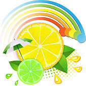 Slices lemon and lime