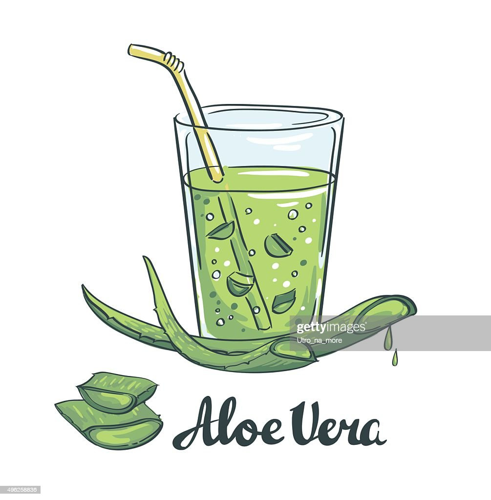 Slices of Aloe Vera in a glass. Healthy cocktail.