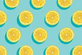 Slices of fresh yellow lemon summer background.