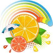 Slices orange  and grapefruit