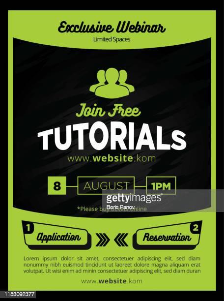 schlicken und moderne grüne tutorials flyer oder postervorlagen für bildung - handzettel stock-grafiken, -clipart, -cartoons und -symbole